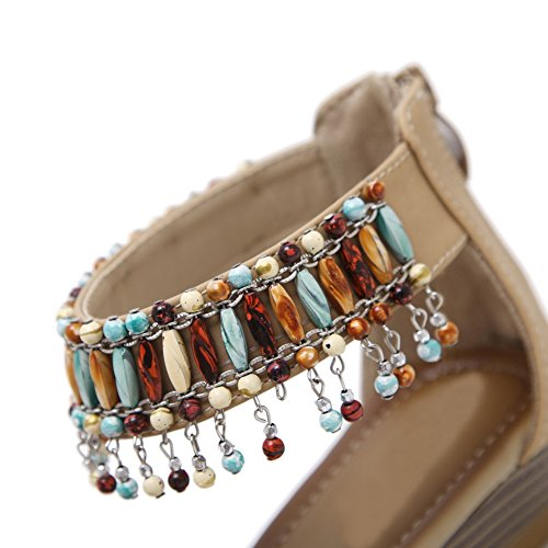 AN Womens Studded Travel Glitter Urethane Sandals DIU01036 Apricot yrgH0Gs