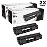 LD Compatible Replacements for HP CF283A (HP 83A) Set of 2 Black Laser Toner Cartridges for use in HP LaserJet Pro M201dw, M201n, MFP M152a, M125nw, M125rnw, M127fw, M225dn, and M127fn Printers