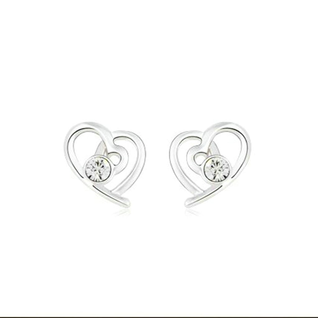Hollow Heart Clear CZ Crystal Rhinestone Dangle Drop Earrings Aooaz Stud Earrings For Women Ladies