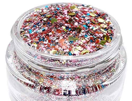 Unicorn Fantasy biodegradable chunky body glitter (8g) by Eco Lovers. Glitter for face, body and hair Rave-Festival-Party