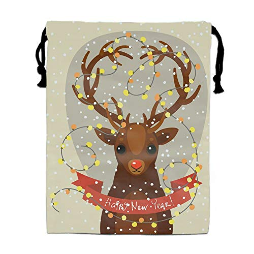 Cute Cartoon Deer Drawstring Bags Party Favors Bags(1 Pack), Personalised Birthday Fabric Party Goodie Bag Gift for Kids Boys & Girls ()