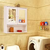 Bathroom Wall Cabinet with Double Mirror Doors - By Choice Products
