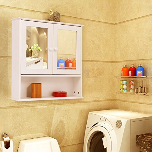 By Choice Products Bathroom Wall Cabinet with Double Mirror Doors