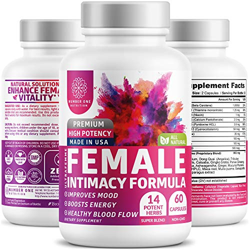 N1 Nutrition Intimacy Formula for Women with Natural Epimedium, Dong Quai, Maca Root, and Cayenne Pepper for Better Drive, Energy, and Mood, 60 Capsules