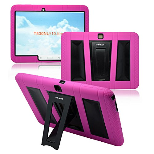 [iRHINO] TM Heavy Duty rugged impact Dual layer Hybrid Case cover with Build In Kickstand Protective Case For Samsung Tablet galaxy Tab 4 10.1 inch T530 (HOT PINK ON BLACK) (Samsung Galaxy Tablet 4 Cover)