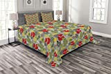 Lunarable Cartoon Bedspread Set Queen Size, Animal Nature Forest Trees Leaf Wild Fox and Modern Art, Decorative Quilted 3 Piece Coverlet Set with 2 Pillow Shams, Reseda Pistachio Green Mustard