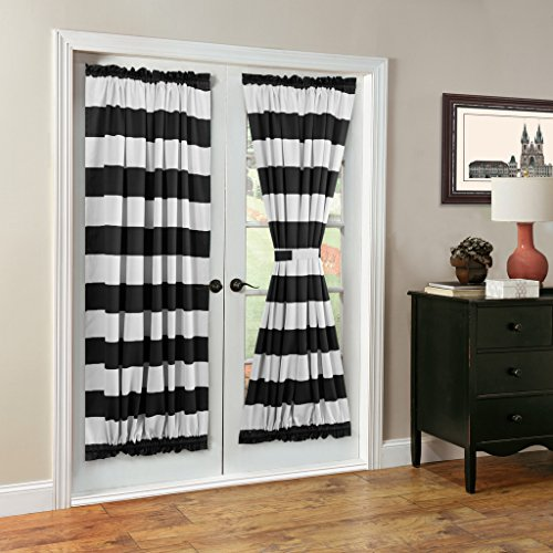 french door panel curtains black - 6