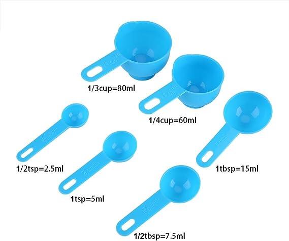7Pcs Plastic Teaspoon Measuring Cup Spoons Set Kitchen Baking Craft Tools
