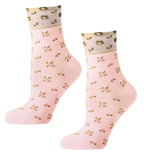 Ankle Socks - Soft Knit Rose Ladies Ankle Length Socks (One Size) -