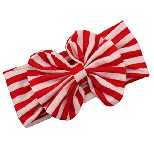 Red Stripe Bow - DZT1968(TM) Baby Girl Newest Stripe Bowknot Turban Headband Head Wrap Knotted Hair Band (Red)