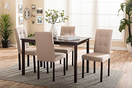 Baxton Studio 5 Piece Andrew Beige Fabric Upholstered Grid-Tufting Dining Set, Off-White