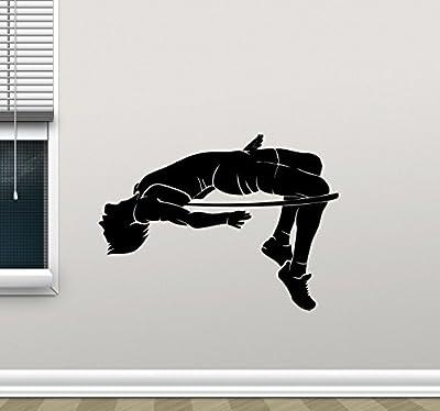 High Jump Wall Decal High Jumping Sportsman Gym Fitness Workout Sport Poster Vinyl Sticker Kids Teen Boy Room Nursery Bedroom Wall Art Decor Mural 93nnn