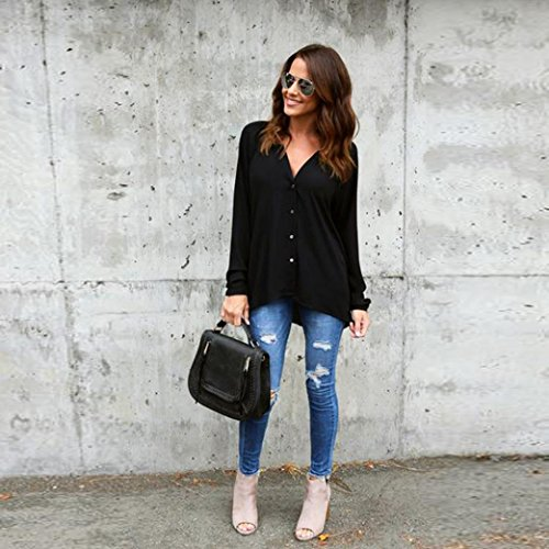 Noir Femme Blouse Loose Grande Casual Tops Chemise Longues Manches OverDose Taille Oversize Shirt ww7qEpT