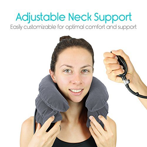 Cervical Neck Traction Pillow by Vive - Inflatable Home Pillow Stretcher Device Unit for Chiropractic Back Pain Relief, Spine Support & Posture - Adjustable Air Pump System for Travel & Stiff Neck by VIVE (Image #5)