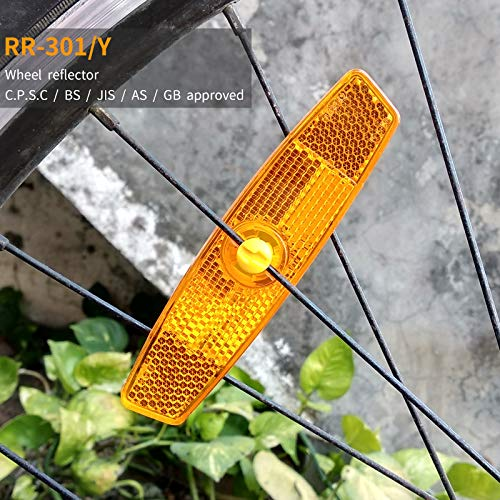 BSK 4Pcs Yellow Bicycle Wheel Spoke Night Safety Warning - Amber Bicycle