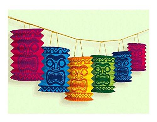 Hawaiian Tiki Paper Lantern Garland Luau Beach Party Decorations Supplies ~ 12'