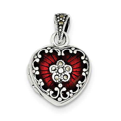 Marcasite Heart Locket Pendant - IceCarats 925 Sterling Silver Red Enamel Marcasite Heart Photo Pendant Charm Locket That Holds Pictures
