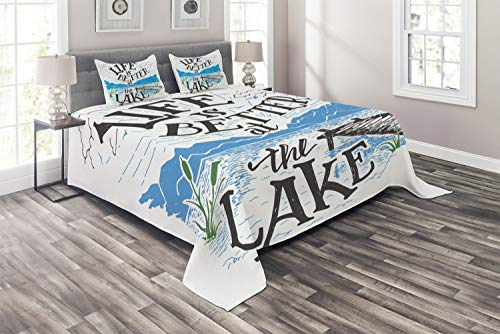 Lunarable Cabin Coverlet Set Queen Size, Life is Better at The Lake Wooden Pier Plants Mountains Sketch Art, 3 Piece Decorative Quilted Bedspread Set with 2 Pillow Shams, Charcoal Grey