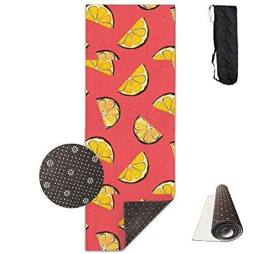 Useror Fitness - Esterilla de Yoga con Correa y Bolsa, diseño de limón orgánico en Color Coral, 71 x 24 Pulgadas