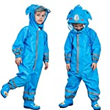 One Piece Rain Suit Kids,Unisex Toddler Waterproof Rainsuit Rain Coat Coverall (S, Blue Koala)