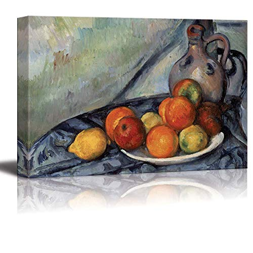 Canvas Prints Wall Art - Fruit and a Jug on a Table by Paul Cezanne - Canvas Print Wall Art Famous Painting Reproduction - 12