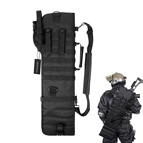 Tactical Assault Rifle Case - Tactical Pistol Breacher's Shotgun Scabbard Holster Molle Rifle Sling Case Bag for Outdoor Hunting Black