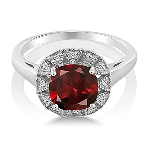 2.74 Ct Cushion Cut Red Garnet And White Diamond 925 Sterling Silver Engagement Ring (Available in size 5, 6, 7, 8, - Sterling Silver Diamond Antique Ring
