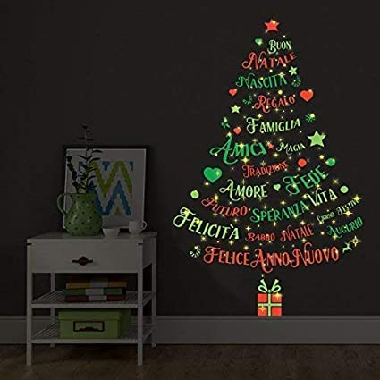 Dark Christmas.Christmas Decorations Wall Stickers Magic Glow In Dark Italian Quotes Christmas Tree Wall Murals Decals Living Room Children Nursery School