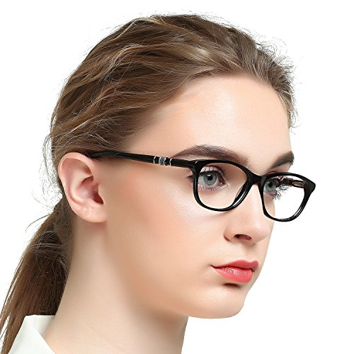 Classic Women's Eyewear Frame Clear Lens Glasses Non Prescription Eyeglasses Eye Protection RX(Black 52-17-142)
