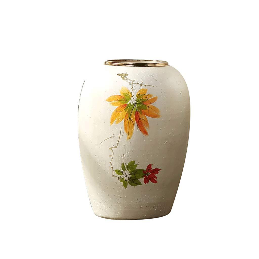 QIQIDEDIAN Bodenvase aus Keramik Wohnzimmer große Blumenschmuck Blumenschmuck Ornamente handbemalt groß (Farbe : Weiß, größe : 45cm*30cm)