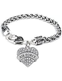 Heart Air Force Bracelet for Women Girl Charm - White Crystal Silver Jewelry