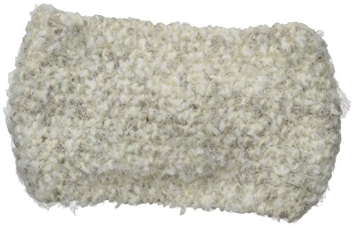 Yarn Boucle Polyester (D&Y Women's Boucle Feather Metallic Yarn Headwrap with Cinch Front, Ivory One Size)