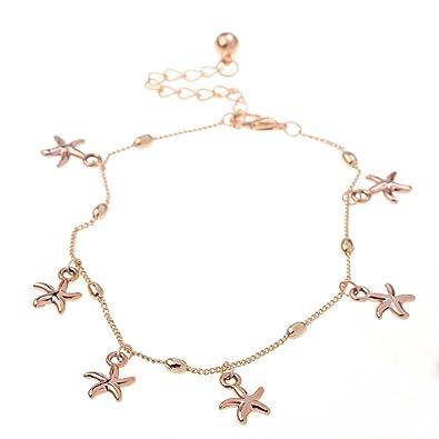 Amazoncom Womens SilverGold Chain Ankle Bracelet Fishbone