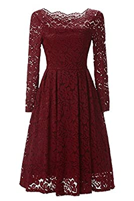 Changuan Women's Vintage Long Sleeve Lace Cocktail Prom Dress