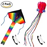 COM4SPORT Rainbow Delta Kite and Red Mollusc Octopus Kite with Long Colorful Tail for Kids and Adoults with 328 Feet Long String 2 Pack