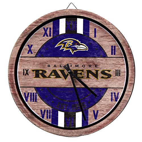 FOCO NFL Baltimore Ravens Team Logo Wood Barrel Wall ClockTeam Logo Wood Barrel Wall Clock, Team Color, One -