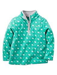Carter's Baby Girls' Zip Microfleece Jacket (6 Months, Turquoise)