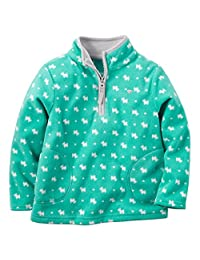 Carter's Baby Girls' Zip Microfleece Jacket (6 Months, Turquoise)