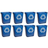 Rubbermaid Commercial 295573BE Small Deskside Recycling Container, Rectangular, Plastic, 13.625qt, Blue (8 Trash Cans (13.625 Quarts))