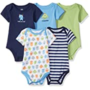 Luvable Friends Cotton Bodysuit, 5 Pack Monster Bodysuits, 0-3 Months