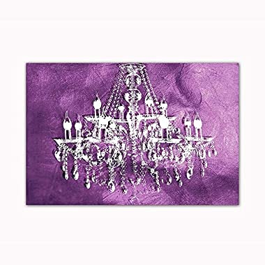 Purple Chandelier Wall Decoration Digital Art Image Printed on 24 X36  Canvas Stretched & Framed Ready to Hang From