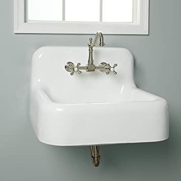 Vintage Tub Bath Daisy 25 Inch Cast Iron Farmhouse Sink 8 Inch Faucet Drillings White Amazon Com