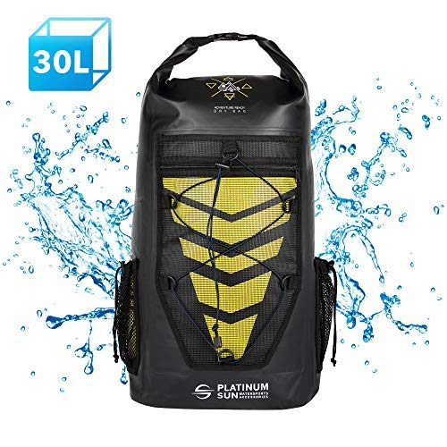 Platinum Sun 30L Waterproof Dry Bag Backpack - Rolltop Floating Backpacks - Sailing Bags for Kayaking Fishing Canoeing Kite Surfing Hiking Boating Swimming Water Sports - Yellow [並行輸入品] B07R3YMQ3R