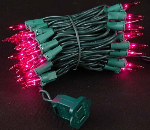 Novelty Lights 50 Light Pink Christmas Mini Light Set, Green Wire, 11' Long (Pink String Lights)