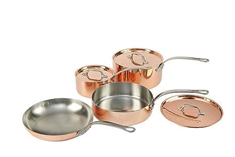 Set de 4sartenes de cobre con tapa y ollas francesas