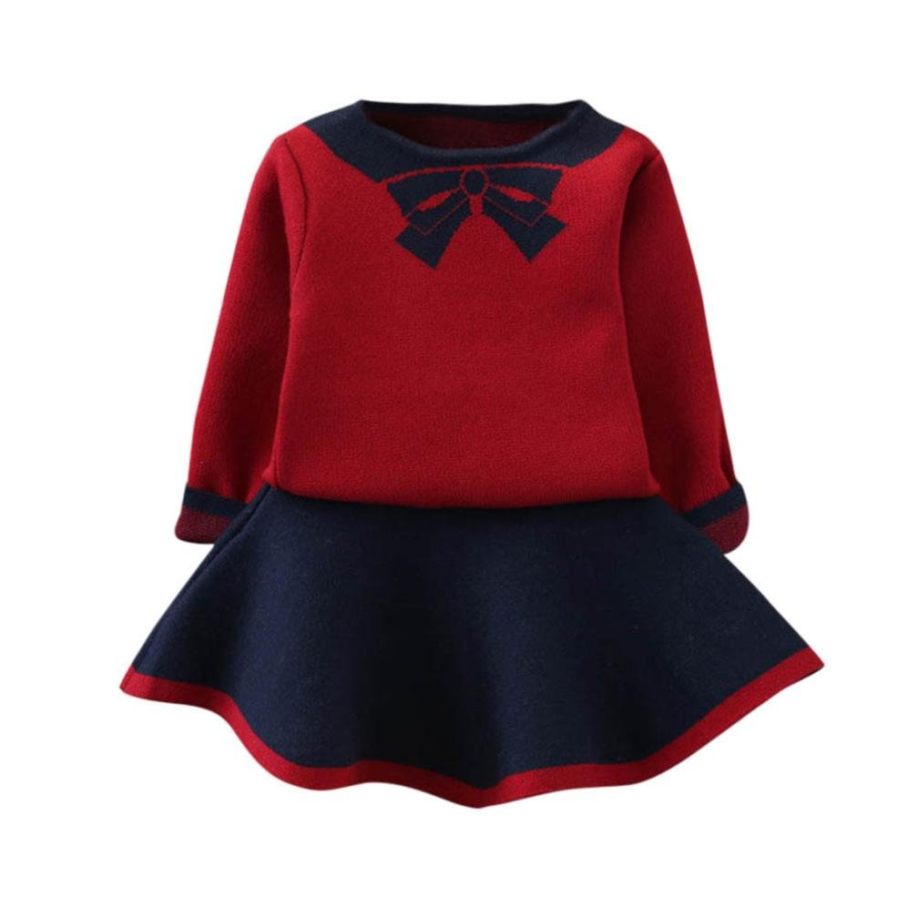 Baby Girls Dresses Outfit,Clode® Fashion 2PCS Autumn Winter Toddler Kids Baby Girls Outfits Clothes Bowknot Knitted Sweater Pullover Tops and Skirt Clothing Set Clode-T65