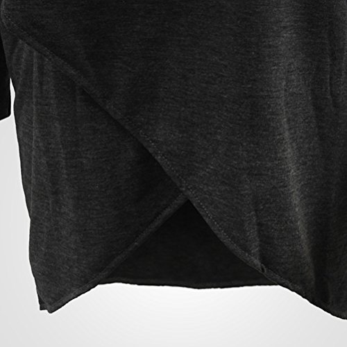 Zhhlinyuan Ropa populares Loose V Shaped T-shirt Bat Sleeves Shirts Hem Round Neck Clothing for Womens Dark Gray