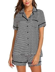Aimado Women Sleepwear Casual Striped Print Short Sleeve Pockets Pajama Set(S-XX-Large)