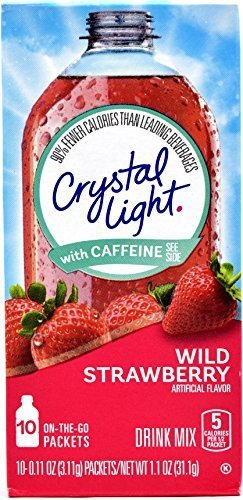 Crystal Light On The Go Wild Strawberry With Caffeine Drink Mix, 10-Packet Box (Pack of 5)