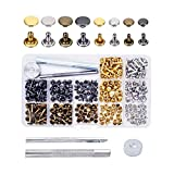 Cemobile 240 Sets Leather Rivets Kit, Double Cap Rivet Tubular Metal Studs with Fixing Tools and Storage Box for DIY Craft/Clothes/Shoes/Bags/Belts Repair and Decoration, 2 Sizes 4 Colors